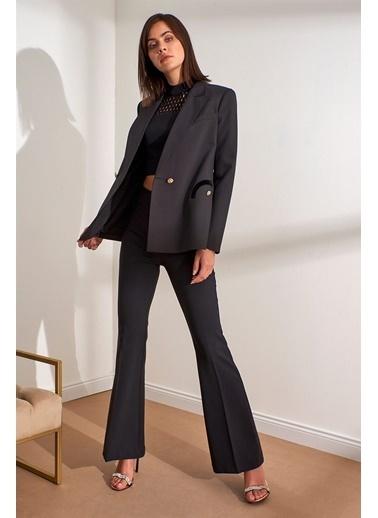 Setre Siyah Kruvaze Kapama Uzun Kol Blazer Ceket Siyah